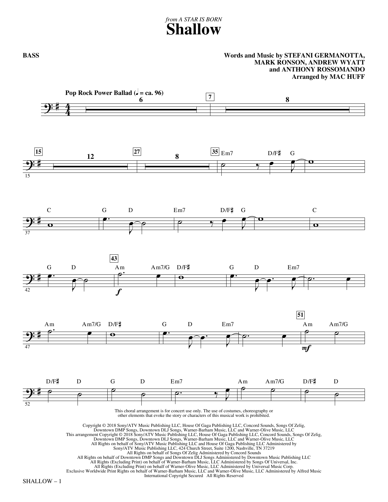 Lady Gaga & Bradley Cooper 'Shallow (from A Star Is Born) (arr  Mac Huff) -  Bass' Sheet Music Notes, Chords   Download Printable Choral Instrumental