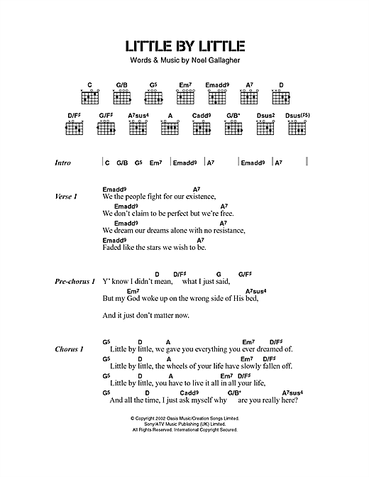 Oasis Little By Little Sheet Music Notes Chords Printable Rock