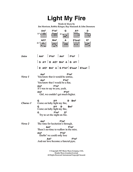 Jose Feliciano Light My Fire sheet music notes and chords