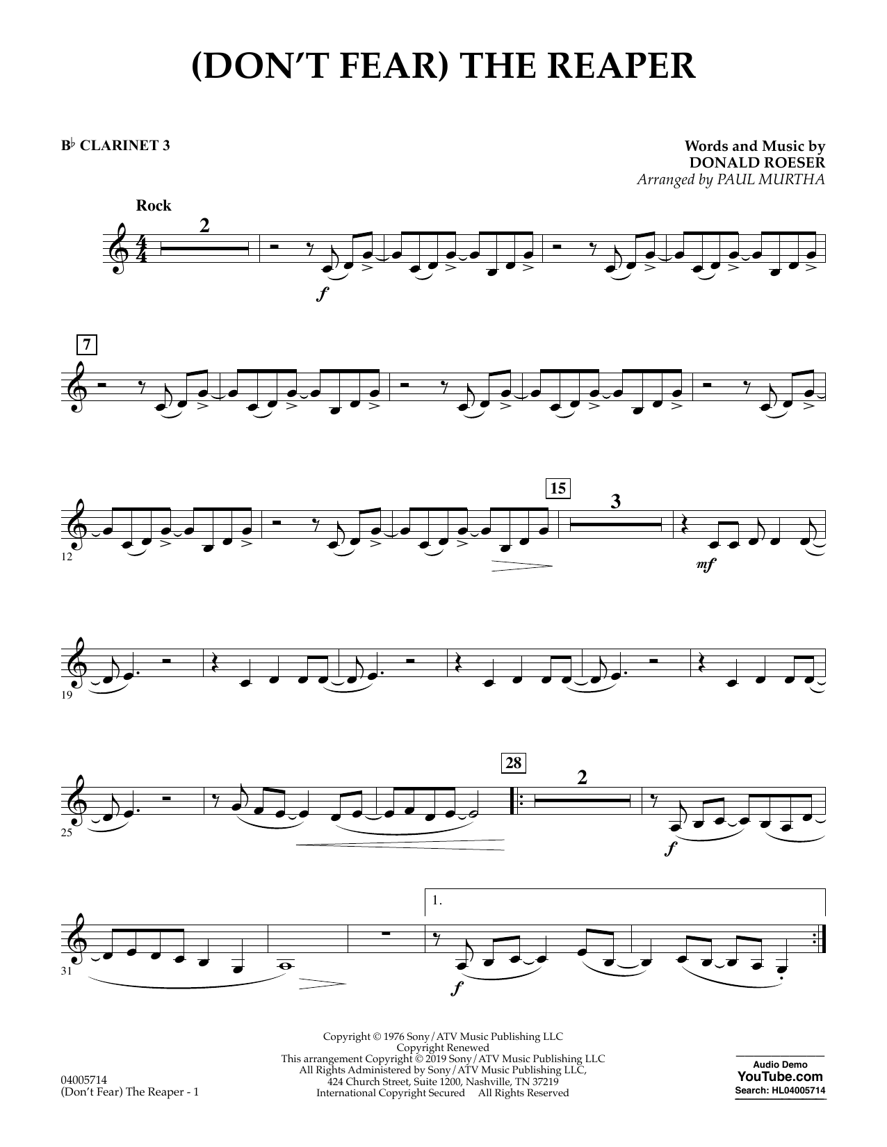 Blue Oyster Cult '(Don't Fear) The Reaper (arr  Paul Murtha) - Bb Clarinet  3' Sheet Music Notes, Chords | Download Printable Concert Band - SKU: