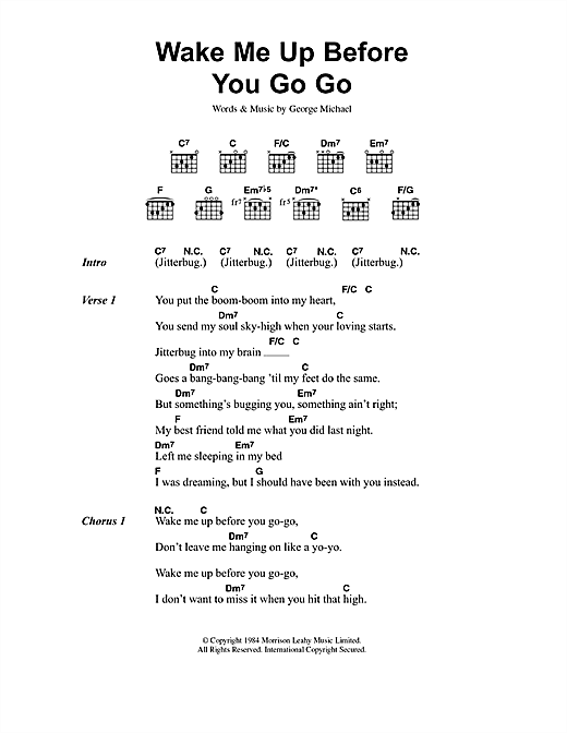 Wham Wake Me Up Before You Go Go Sheet Music Notes Chords