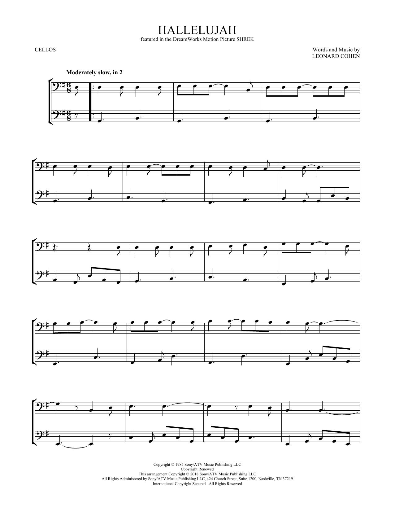 Leonard Cohen Hallelujah Sheet Music Notes Chords Download Printable Vcldt Sku 408497