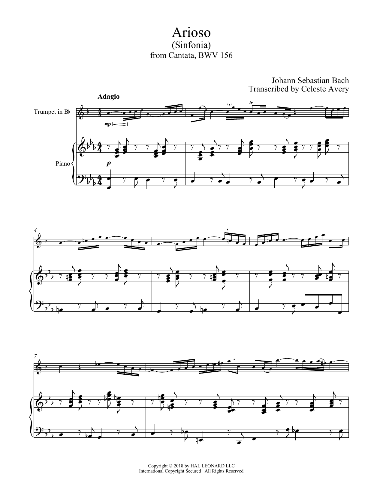 Johann Sebastian Bach 'Arioso' Sheet Music Notes, Chords | Download  Printable Trumpet and Piano - SKU: 409269