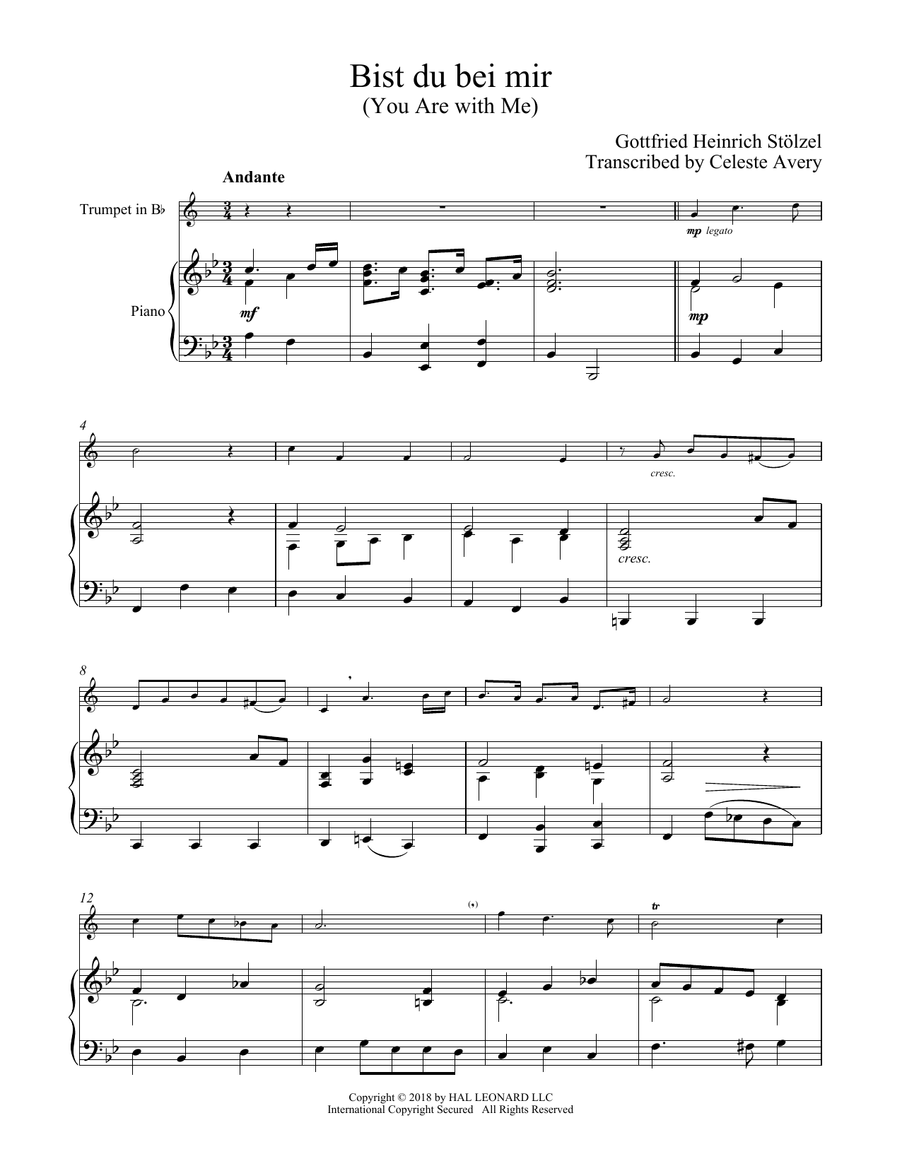 Johann Sebastian Bach Bist Du Bei Mir You Are With Me Sheet Music Notes Chords Download Printable Trumpet And Piano Sku 409276