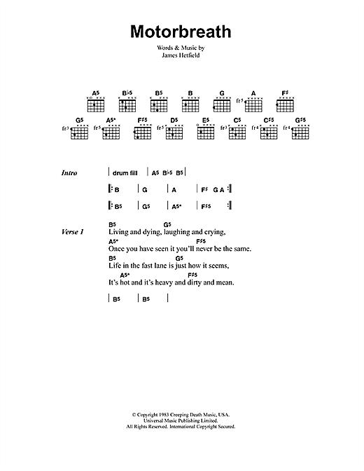 Metallica Motorbreath Sheet Music Notes Chords Printable Metal