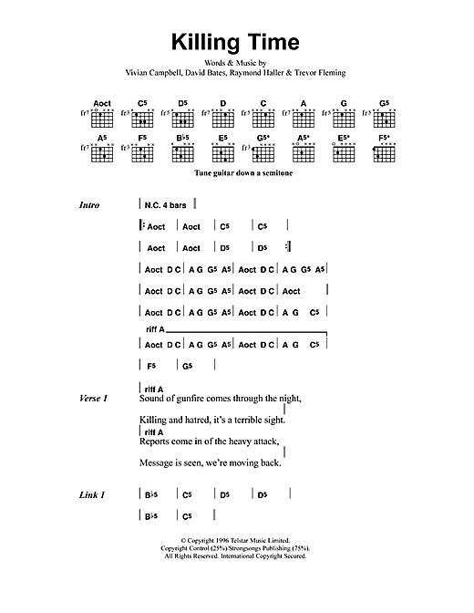 Metallica Killing Time Sheet Music Notes Chords Printable Metal