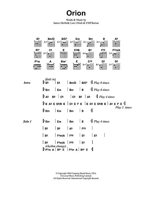 Metallica Orion Sheet Music Notes Chords Printable Metal Lyrics
