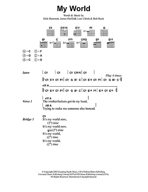 Metallica My World Sheet Music Notes Chords Printable Metal