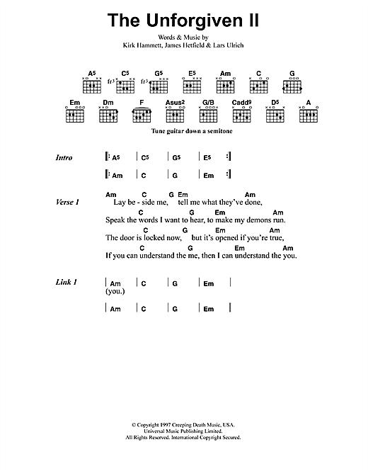 Metallica The Unforgiven Ii Sheet Music Notes Chords Printable