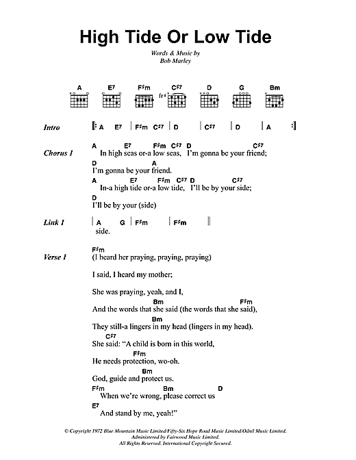 Bob Marley High Tide Or Low Tide Sheet Music Notes Chords