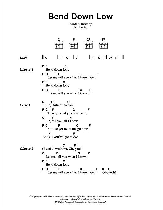 Bob Marley Bend Down Low Sheet Music Notes Chords Printable