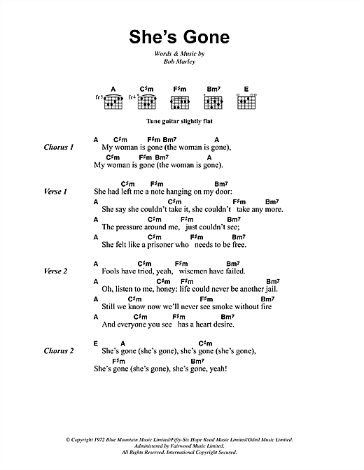 Bob Marley Shes Gone Sheet Music Notes Chords Printable Reggae