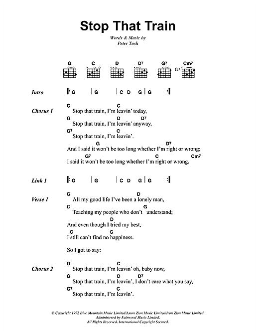Bob Marley Stop That Train Sheet Music Notes Chords Printable
