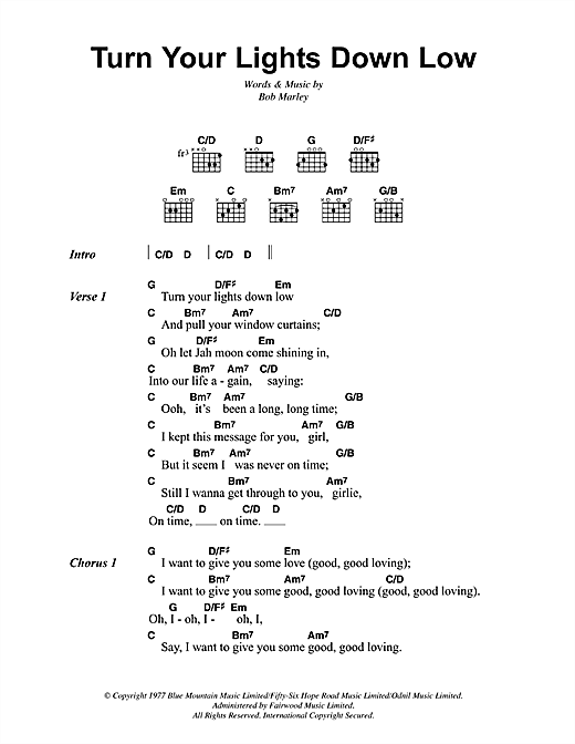 Bob Marley Turn Your Lights Down Low Sheet Music Notes Chords