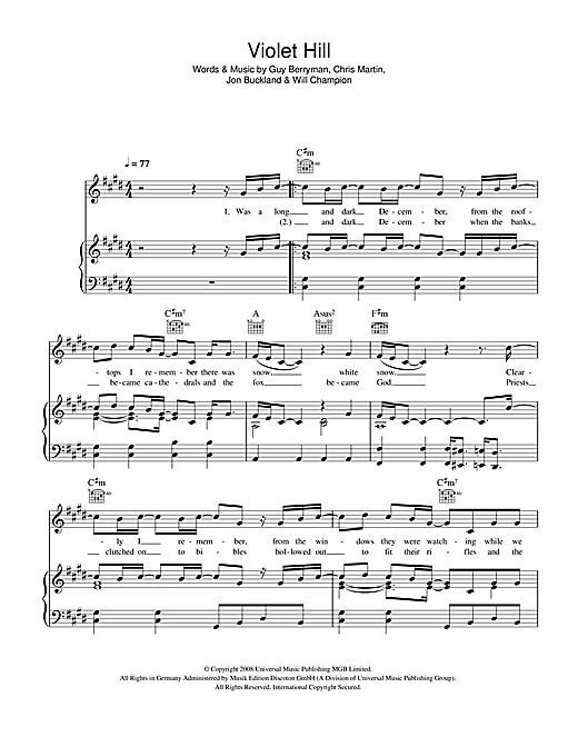 Coldplay Violet Hill Sheet Music Notes Chords Printable Rock