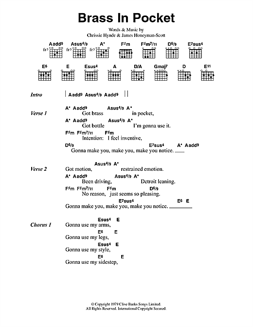 The Pretenders Brass In Pocket Sheet Music Notes Chords
