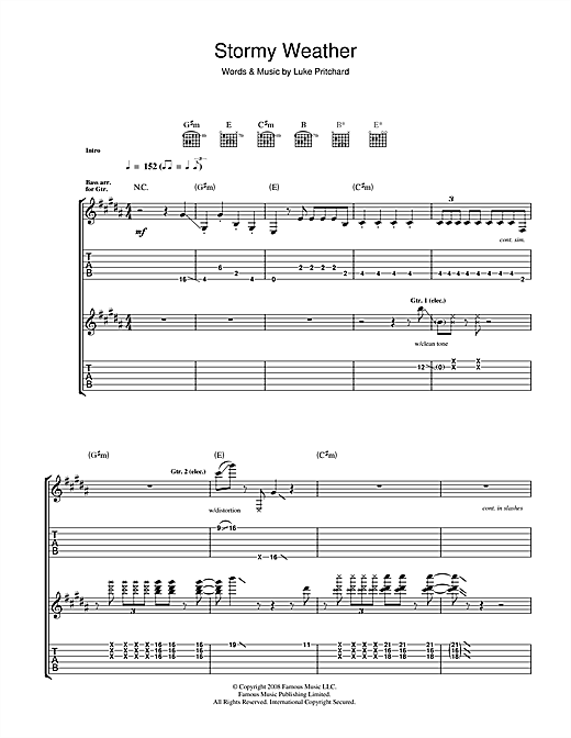 The Kooks Stormy Weather Sheet Music Notes Chords Printable