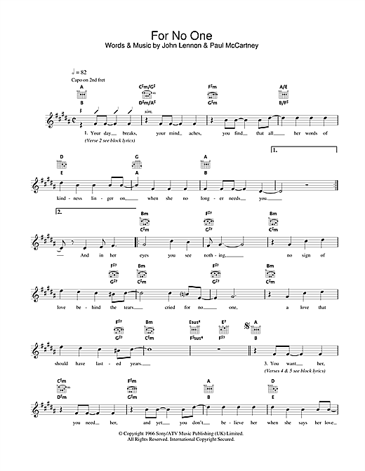 The Beatles For No One Sheet Music Notes Chords Printable Pop