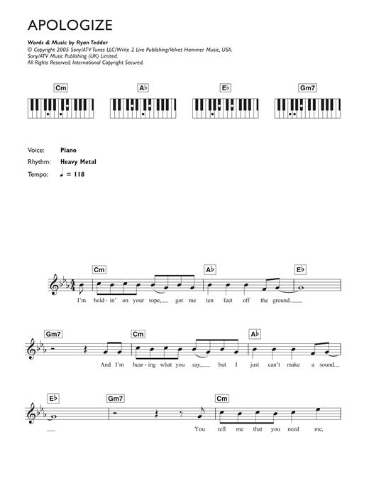 Onerepublic Apologize Sheet Music Notes Chords Printable Pop