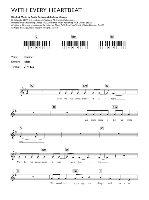 Robyn With Every Heartbeat Sheet Music Notes Chords Printable