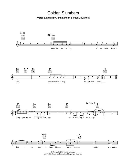 The Beatles Golden Slumbers Sheet Music Notes Chords Printable