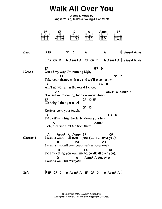 Acdc Walk All Over You Sheet Music Notes Chords Printable Rock