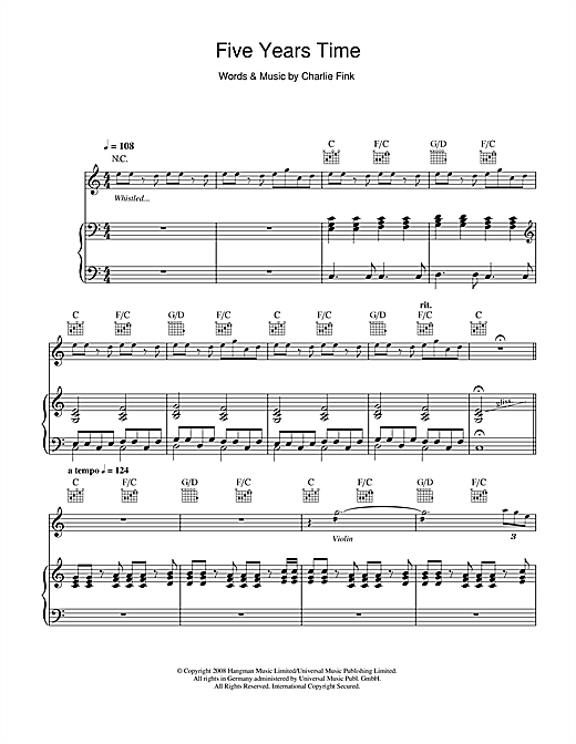 Noah And The Whale 5 Years Time Sheet Music Notes Chords