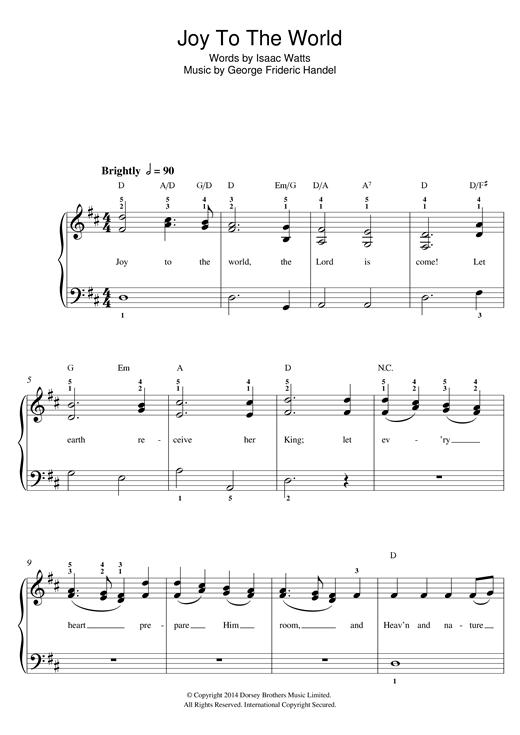 Christmas Carol Joy To The World Sheet Music Notes Chords