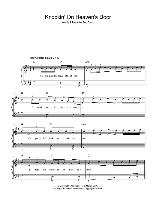 Bob Dylan Knockin On Heavens Door Sheet Music Notes Chords