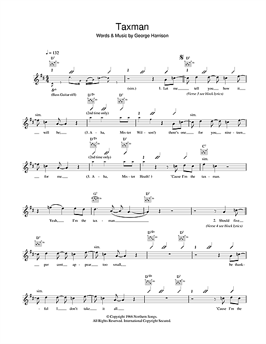 The Beatles Taxman Sheet Music Notes Chords Printable Pop