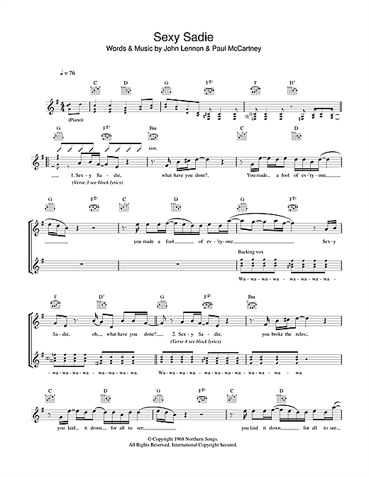 Sexy sadie chords