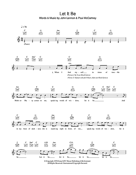 The Beatles Let It Be Sheet Music Notes Chords Printable Pop