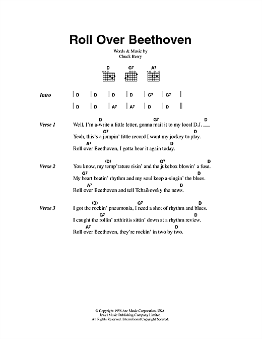 Chuck Berry Roll Over Beethoven Sheet Music Notes Chords