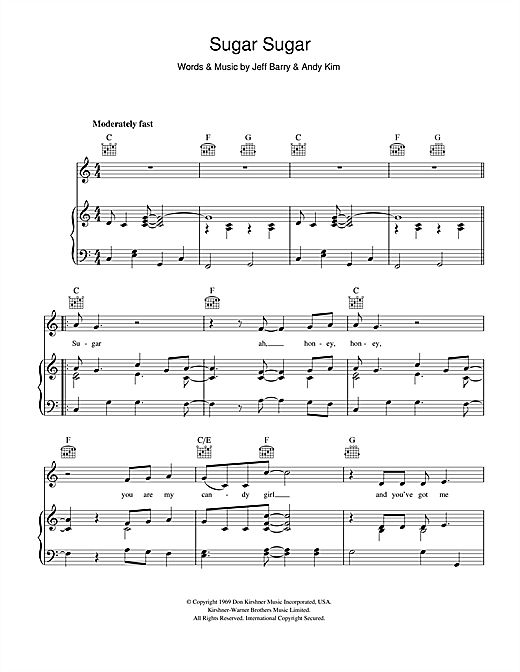 The Archies Sugar Sugar Sheet Music Notes Chords Printable