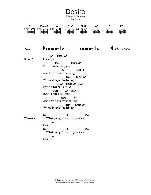 Gene Loves Jezebel Desire Sheet Music Notes Chords Printable