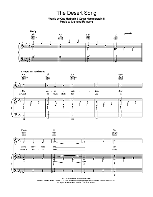 Sigmund Romberg The Desert Song Sheet Music Notes Chords