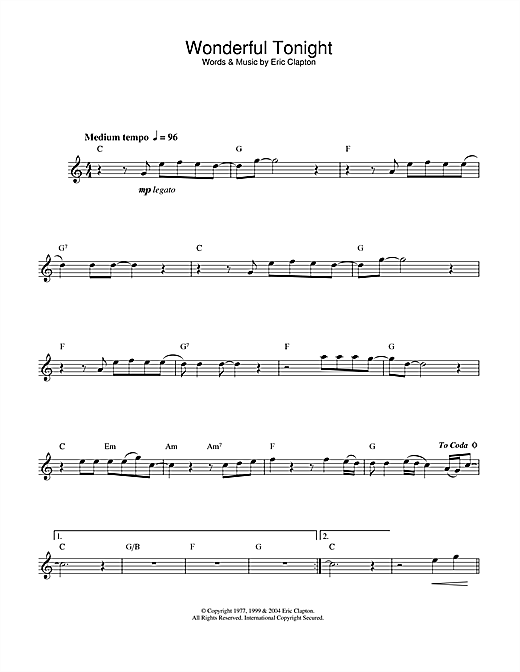 Eric Clapton Wonderful Tonight Sheet Music Notes Chords