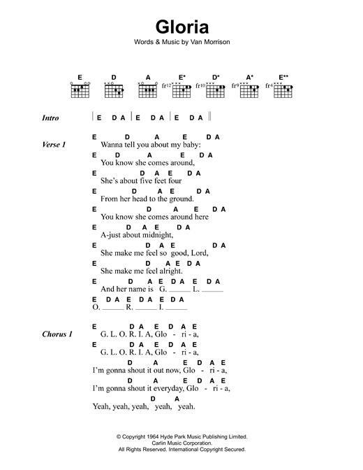 Van Morrison Gloria Sheet Music Notes Chords Printable Rock