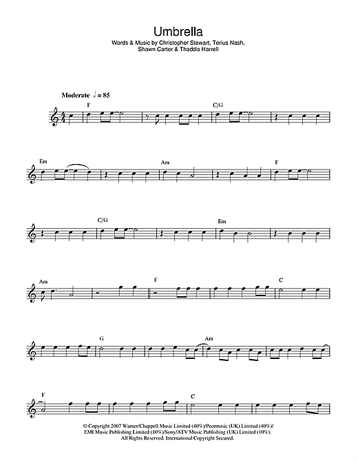 Rihanna Umbrella Feat Jay Z Sheet Music Notes Chords