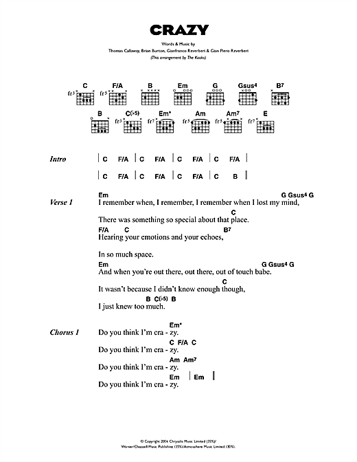Gnarls Barkley Crazy Sheet Music Notes Chords Printable Rock