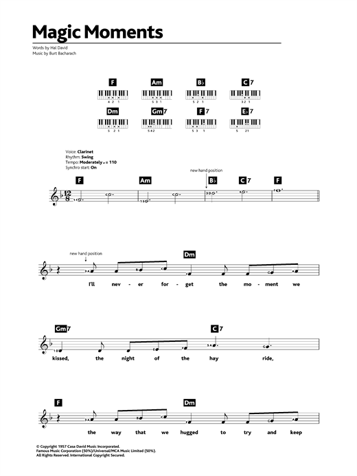 Perry Como Magic Moments Sheet Music Notes Chords Printable