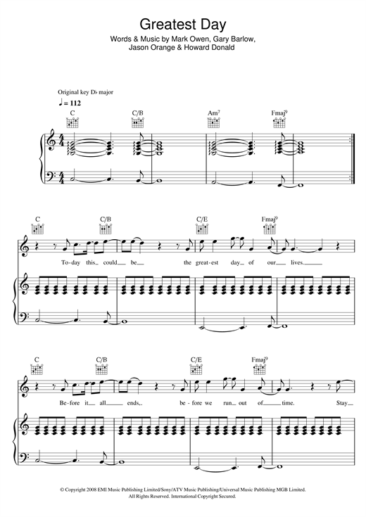 Take That Greatest Day Sheet Music Notes Chords Printable Pop