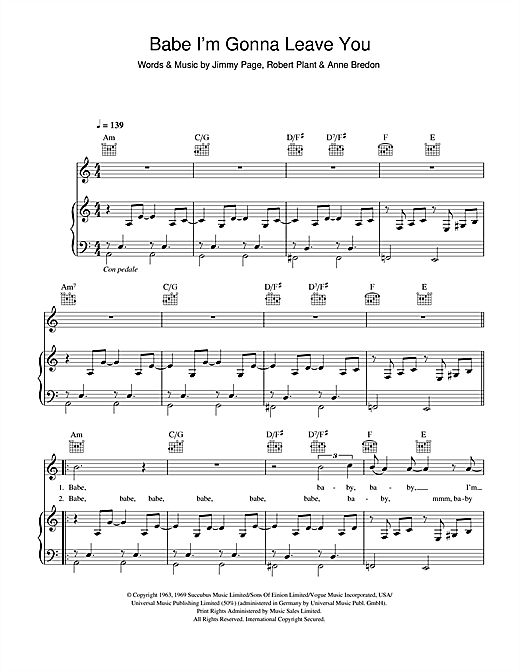 Led Zeppelin Babe Im Gonna Leave You Sheet Music Notes Chords
