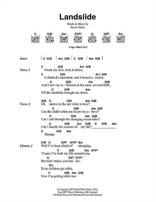 Fleetwood Mac Landslide Sheet Music Notes Chords Printable Rock