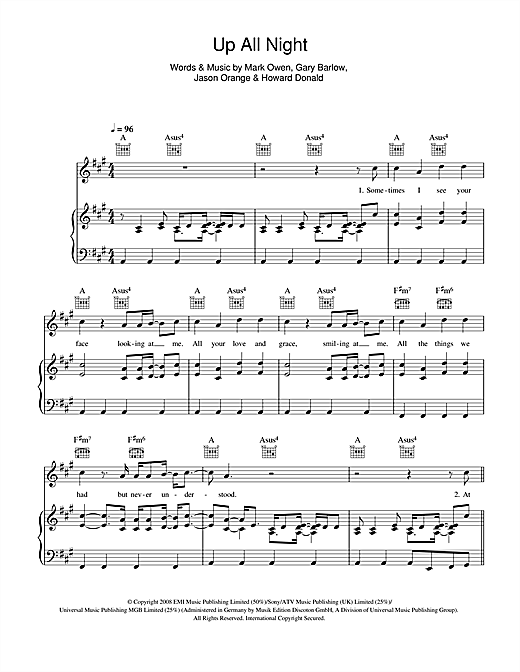 Take That Up All Night Sheet Music Notes Chords Printable Pop