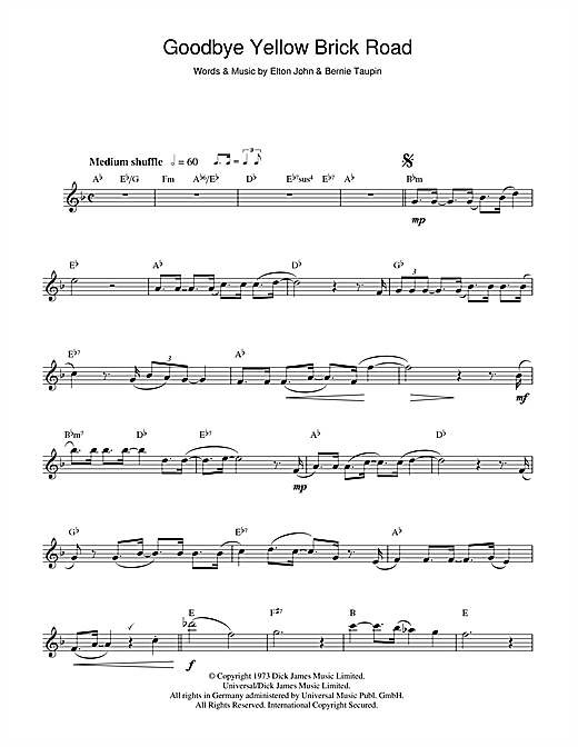 Elton John Goodbye Yellow Brick Road Sheet Music Notes Chords