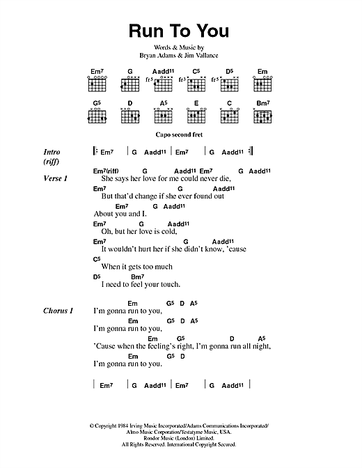 Bryan Adams Run To You Sheet Music Notes Chords Printable Rock