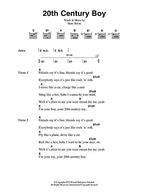 T Rex 20th Century Boy Sheet Music Notes Chords Printable Rock