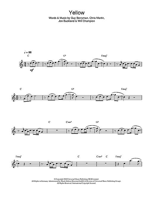 Coldplay Yellow Sheet Music Notes Chords Printable Rock Alto