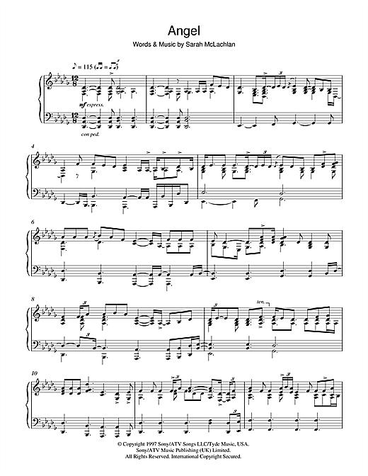 Sarah Mclachlan Angel Sheet Music Notes Chords Printable Pop